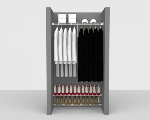 Fixed Mount Cloakroom Package 1 - Shelf & Rod shelving up to 1,22m/ 4' wide